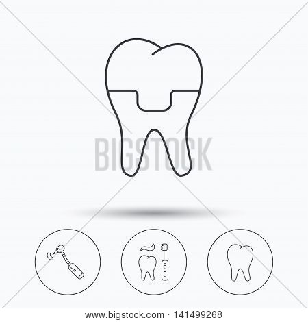 Brushing teeth, tooth and dental crown icons. Drilling tool linear sign. Linear icons in circle buttons. Flat web symbols. Vector