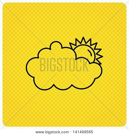Sunny day icon. Summer sign. Overcast weather symbol. Linear icon on orange background. Vector