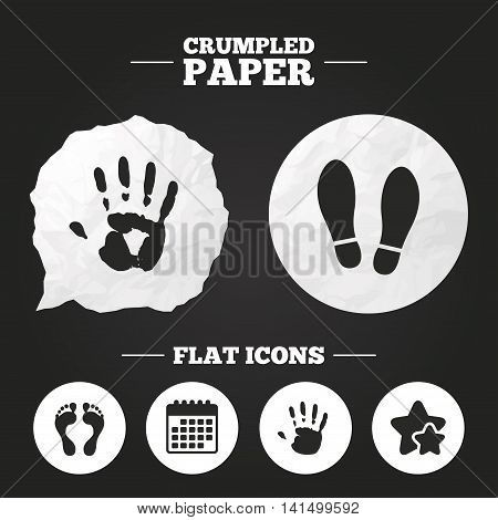 Crumpled paper speech bubble. Hand and foot print icons. Imprint shoes and barefoot symbols. Stop do not enter sign. Paper button. Vector