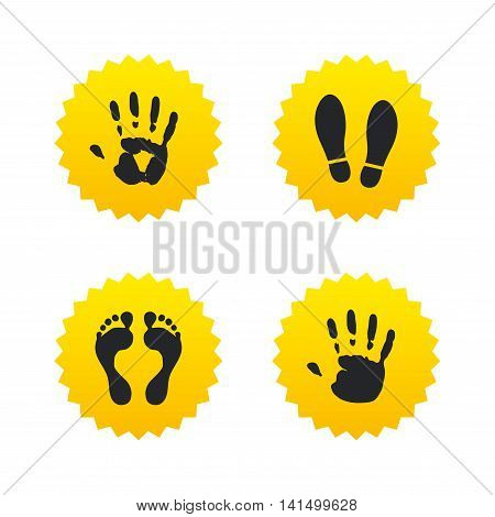 Hand and foot print icons. Imprint shoes and barefoot symbols. Stop do not enter sign. Yellow stars labels with flat icons. Vector