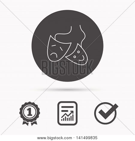 Theater masks icon. Drama and comedy sign. Masquerade or carnival symbol. Report document, winner award and tick. Round circle button with icon. Vector