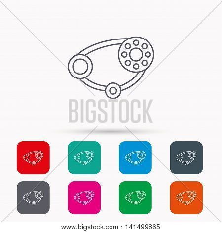 Timing belt icon. Generator strap sign. Repair service symbol. Linear icons in squares on white background. Flat web symbols. Vector
