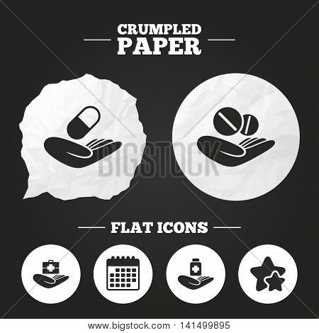 Crumpled paper speech bubble. Helping hands icons. Medical health insurance symbols. Drugs pills bottle signs. Medicine tablets. Paper button. Vector