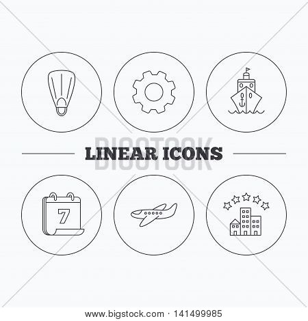 Cruise, flippers and airplane icons. Hotel linear sign. Flat cogwheel and calendar symbols. Linear icons in circle buttons. Vector