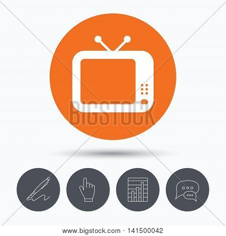 TV icon. Retro television symbol. Speech bubbles. Pen, hand click and chart. Orange circle button with icon. Vector