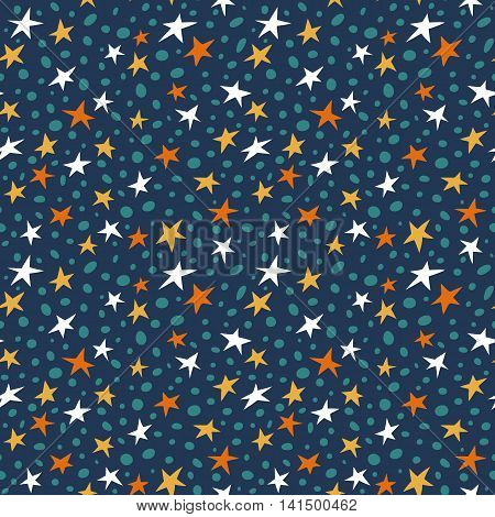doodle space stars pattern. Seamless vector doodle hand drawn pattern with simple stars for wallpapers, scrapbooking, web page backgrounds,textile