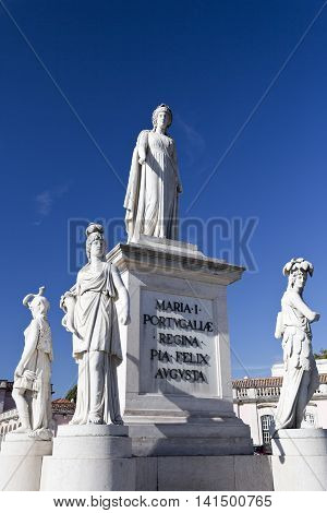 QUELUZ, PORTUGAL - October 21, 2015: Marble statue of Queen Maria I of Portugal at the Palace of Queluz on October 21, 2015 in Queluz, Portugal