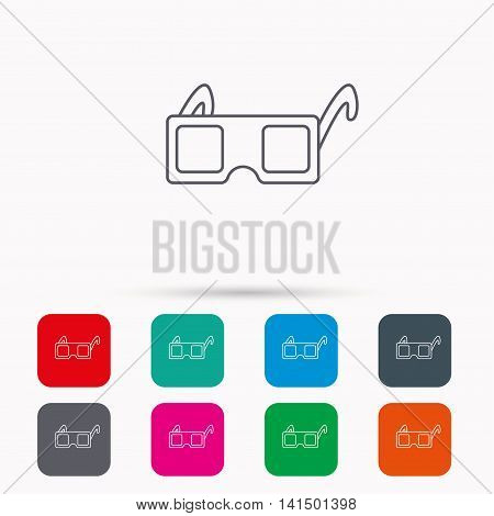 3D glasses icon. Cinema technology sign. Vision effect symbol. Linear icons in squares on white background. Flat web symbols. Vector