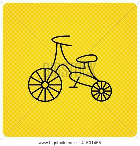 Bike icon. Kids run-bike sign. First bike transport symbol. Linear icon on orange background. Vector