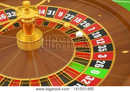 Casino roulette closeup with ball, 3D rendering