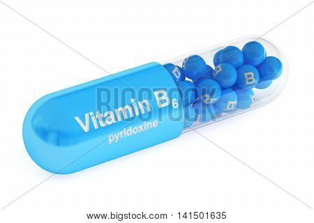 Vitamin capsule B6 3D rendering isolated on white background