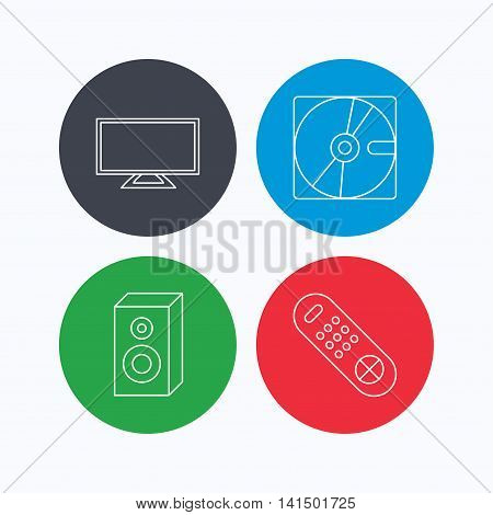 Sound, TV remote and hard disk icons. Widescreen TV linear sign. Linear icons on colored buttons. Flat web symbols. Vector
