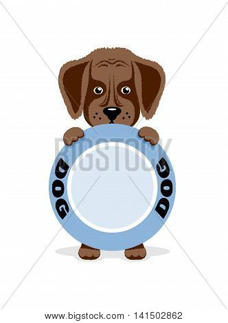 On the image it is presented Hungry puppy holds a bowl. illustration