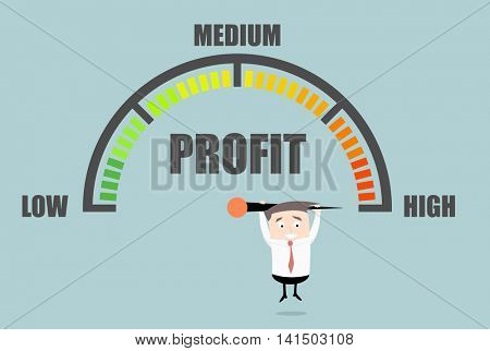 detailed illustration of a person hanging on a profit meter, eps10 vector