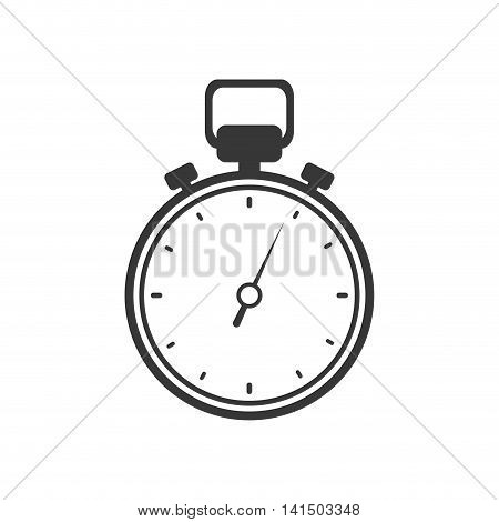 chronometer time silhouette white icon. Isolated and flat illustration. Vector graphic