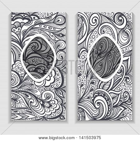 Template frame with Zen-doodle or  Zen-tangle  pattern in grey colors for advertising cosmetic perfumer  or for decorate package clothes or other things
