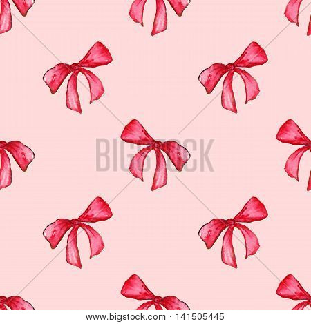 Watercolor red pink bow tape ribbon gift seamless pattern background