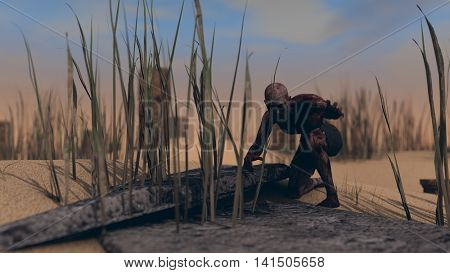 3d illustration of a zombie outdoor