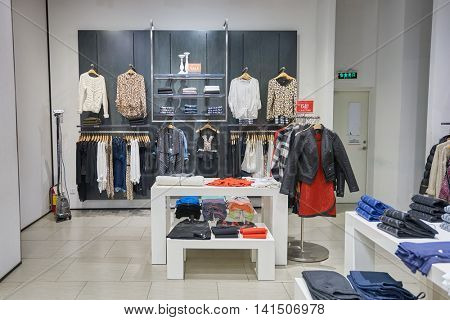 SHENZHEN, CHINA - FEBRUARY 05, 2016: inside of a store at KK Mall in Shenzhen. Shenzhen has excellent shopping choices and offers tourists great shopping opportunities.
