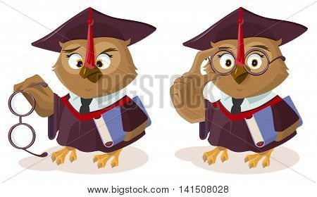 Owl teacher with book and poor eyesight. Isolated on white vector cartoon illustration