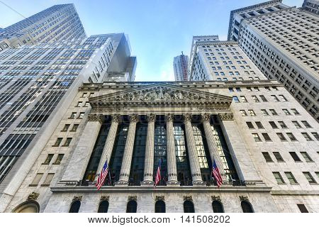 New York City - June 29 2016: The historic New York Stock Exchange on Wall Street one of the largest stock exchanges in the world.