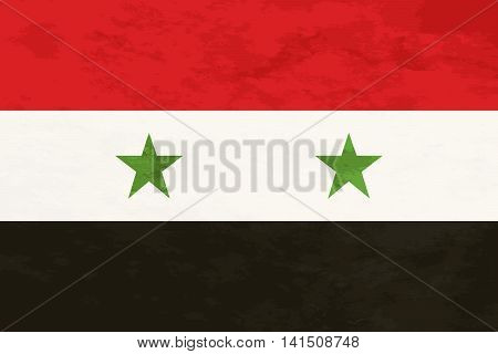 True proportions Syria flag with grunge texture