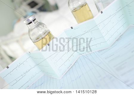Medicine and cardiogram concept of diagnostic and treatment heart diseases.
