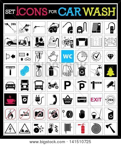 Set of car washing icons. Collection of very useful icons for car wash and other service on the road.