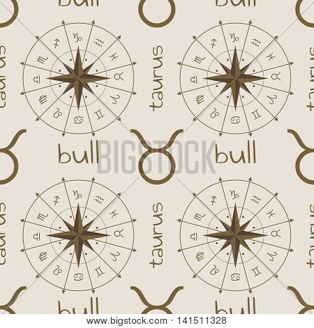 Astrology sign Bull. Seamless background. Vector illustration