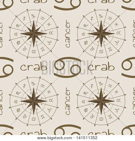 Astrology sign Crab. Seamless background. Vector illustration