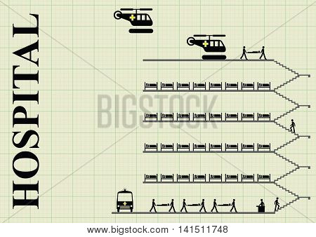 Representation of a busy hospital on graph paper background with  copy space for own text