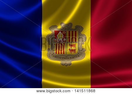 3D rendering of the flag of Andorra on satin texture. Andorra is in Southwestern Europe.