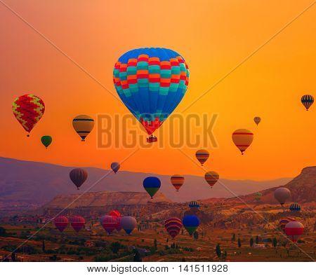 Balloons Sunrise Landscape of the Cappadocia Turkey Adventure from a hot-air balloon