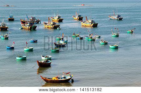 Vietnamese Boat Like Basket Near The Ocean