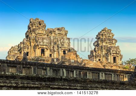 Wall Angkor Wat, Khmer Temple Complex, Asia. Siem Reap, Cambodia.