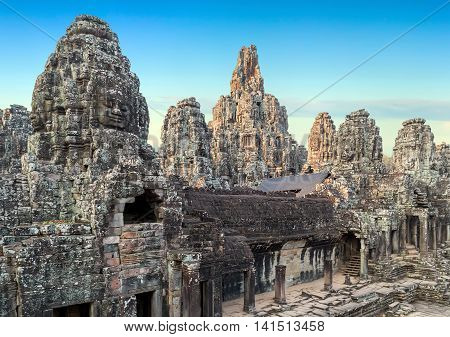 Stone Faces Of Bayon Temple, Angkor, Cambodia