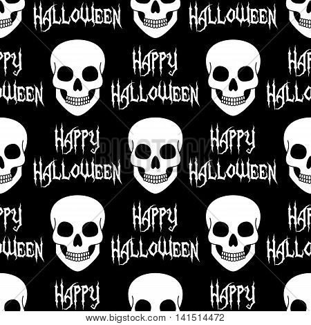 Halloween seamless pattern with skulls. Vector illustration