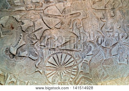 Bas-relief Of Angkor Wat, Siem Reap, Cambodia.