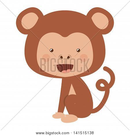 funny monkey character isolated icon design, vector illustration  graphic