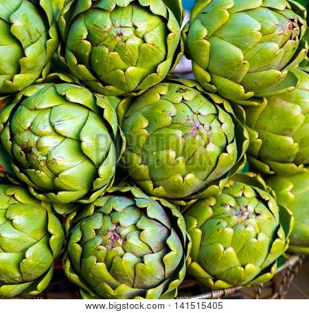 Fresh Artichokes For Sale At A Farmers' Market