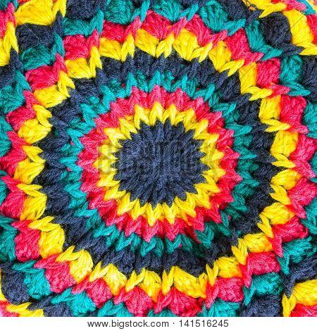 Rastafarian Hat background, Rasta cap closeup, hippie decoration