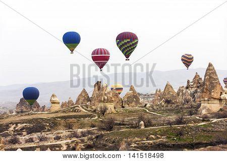 Group Of Air Balloons In Cappadocia Sky