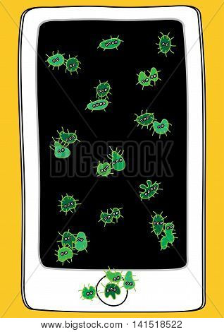 mobile device with germ and bacteria vector illustration