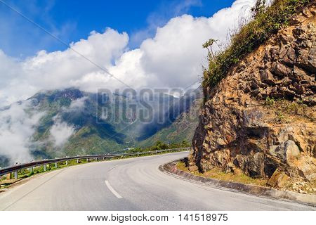 asphalt road hill landscape cloud mountains road, sunrise