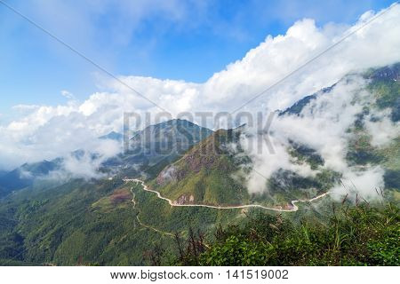 cloud asphalt road hill landscape mountains, Magical autumn forest with amazing sunlight on a sunny day