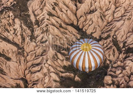 Aerial Photo With The Air Balloon In Cappadocia