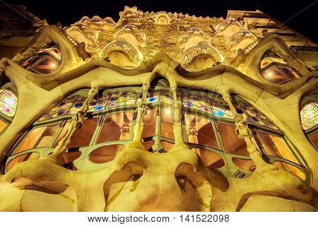 BARCELONA - AUGUST 24: Casa Batllo on August 24 2012 in Barcelona Spain. This famous building was designed by Antoni Gaudi. Vintage retro style