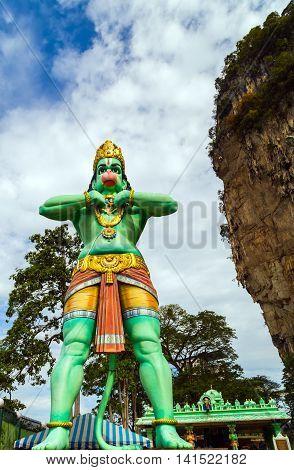 Hanuman Statue Hindu God Batu Caves's Kuala Lumpur Malaysia.