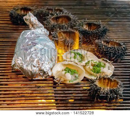 Sea Urchin Grilled Seafood Scallop Seashell
