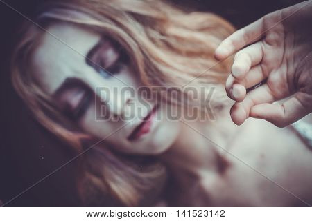 woman with creative visage, soft light, morning time